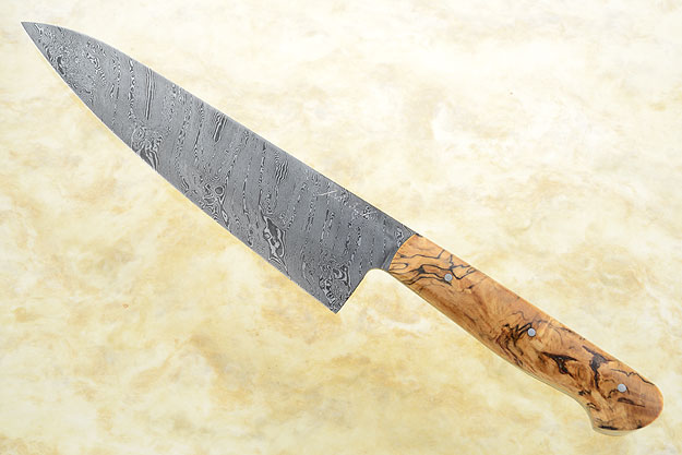 Chef's Knife with Spalted Maple and Twisted Damascus (8 in)
