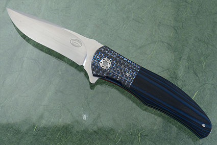 LL13 Flipper with Black and Blue G10 and Carbon Fiber (IKBS)