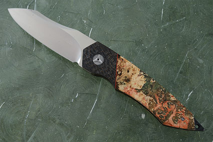 Tactical Front Flipper with Box Elder Burl, Lightning Strike Carbon Fiber and MoonGlow II (IKBS)