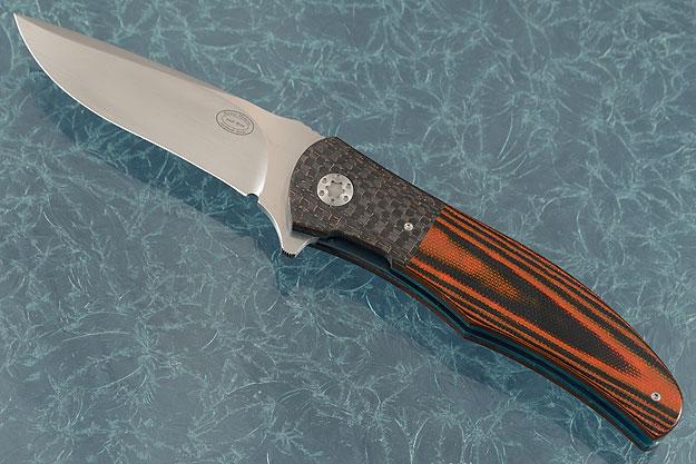 LL13 Flipper with Orange/Black G10 and Lightning Strike Carbon Fiber (IKBS)