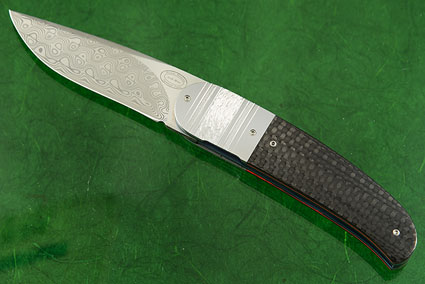LL06 Front Flipper with Twist Damasteel and Carbon Fiber
