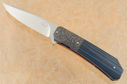 LL14 Flipper with Black and Blue G10 and Carbon Fiber (IKBS)