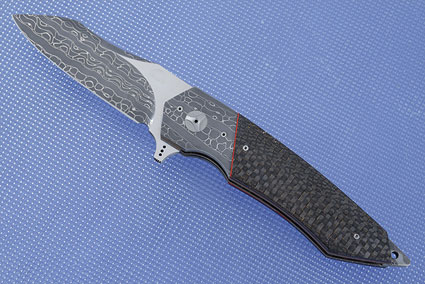 Tactical Flipper with Stainless Steel Damascus and Lightning Strike Carbon Fiber (IKBS)