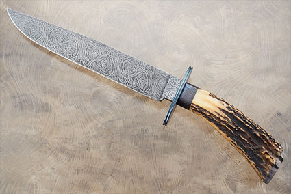 Damascus Radials Bowie with Stag