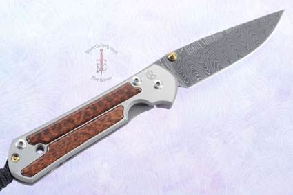 Small Sebenza 21 with Snakewood and Laddered Damascus - Left Handed