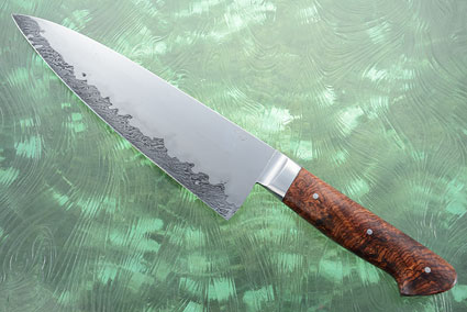 Chef's Knife with Rosewood and San Mai Tornado Damascus (8-1/4 in)