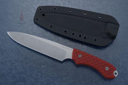 Guardian 6 - Red G10, Stonewash Blade, Sabre Grind
