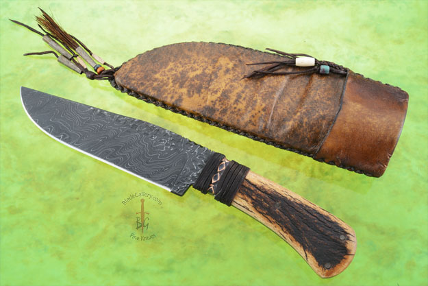 Field Knife with Elk Antler and Damascus