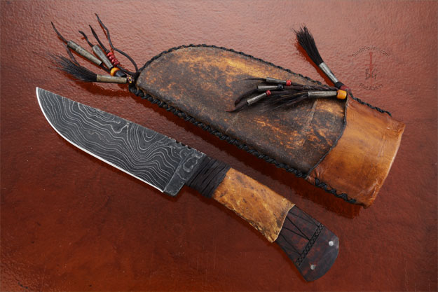 Belt Knife with Maple, Tribal Markings and Damascus