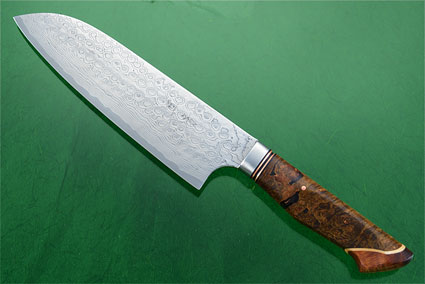 Chef's Knife - Santoku - (170mm / 6-2/3 in) with Stainless Damascus and Maple Burl