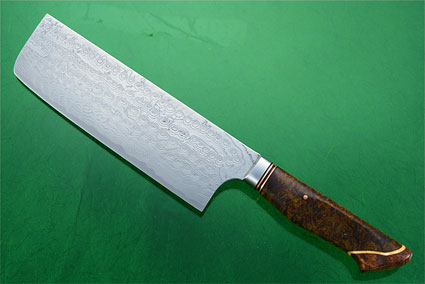 Chef's Knife - Nakiri - (170mm / 6-2/3 in) with Stainless Damascus and Maple Burl