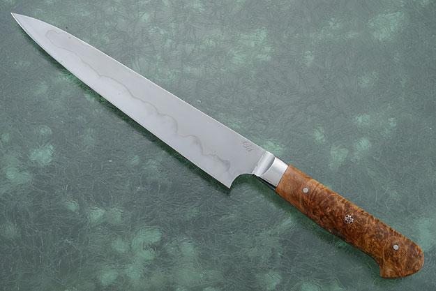 Slicing Knife (Sujihiki) with Spalted Box Elder Burl (8-1/2