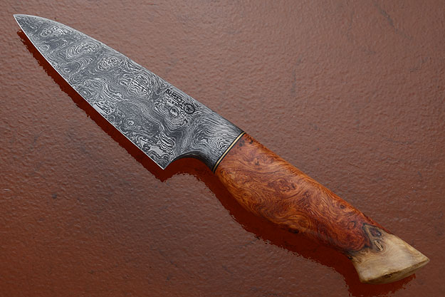 Chef's Knife (4-1/4 in.) with Amboyna Burl and Damascus