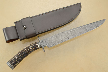 Wolf's Tooth Damascus Bowie with Stag