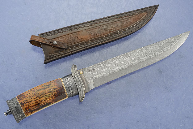 Damascus Bowie with Mammoth Bark