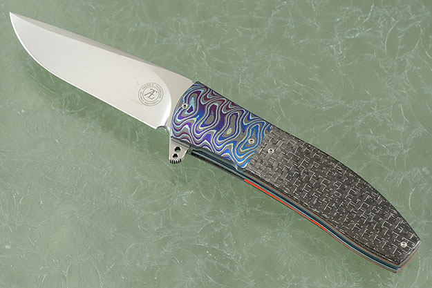 L42 Flipper with Silver Strike Carbon Fiber and Timascus (IKBS)