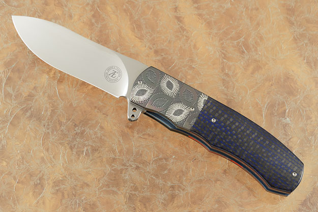 L46 Flipper with Blue/Black Carbon Fiber and Engraved Zirconium (IKBS)
