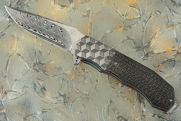 Escher: L44M Flipper with Damascus and Silver Strike Carbon Fiber (IKBS)