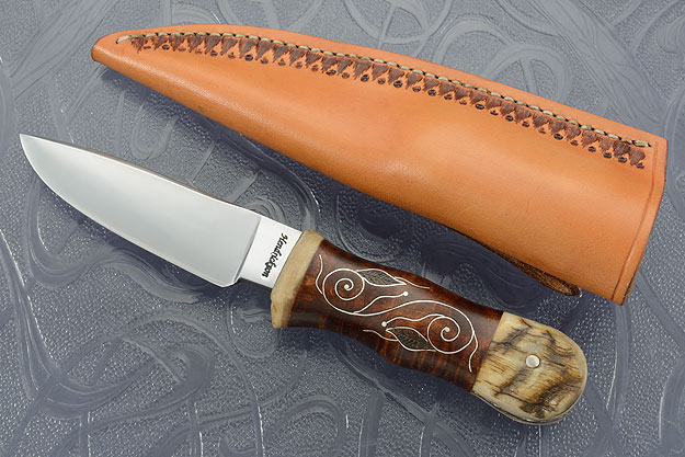 Silver Vines and Leaves Drop Point Skinner