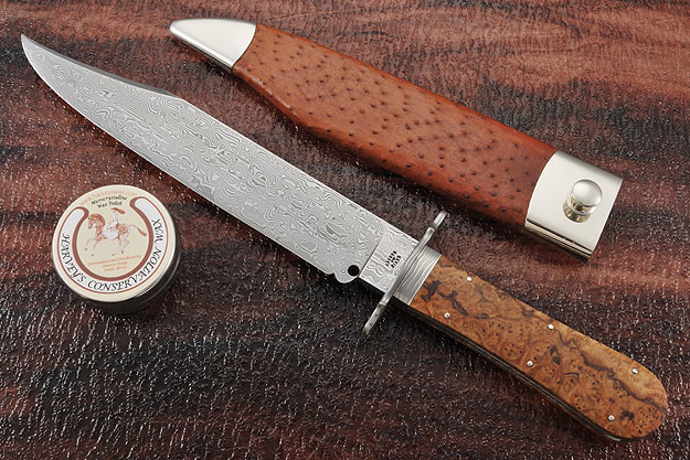 Damascus Bowie with Vitex Burl