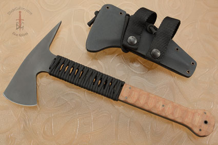 Ranger Axe with Sculpted Tan Micarta, Cord Wrap and Caswell Finish