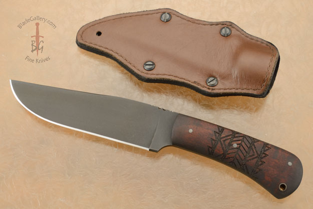 Field Knife with Maple, Tribal Markings, and Caswell Finish