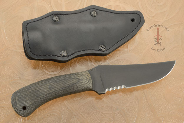 Belt Knife with Micarta, Serrations and Caswell Finish