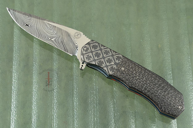 L44 Flipper with Damascus and Silver Strike Carbon Fiber (IKBS)
