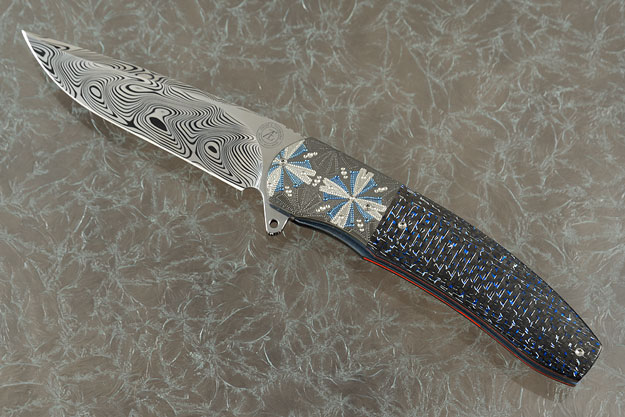 L54 Flipper with Damascus, Blue/Silver Carbon Fiber and Engraved Zirconium (IKBS)