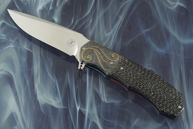 L44 Flipper with Silver Strike Carbon Fiber and Engraved Zirconium (Ceramic IKBS)