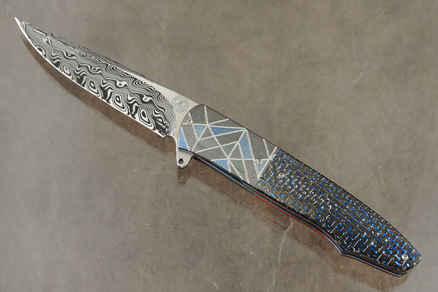 L19 Flipper with Damascus and Blue/Silver Twill Carbon Fiber (Ceramic IKBS)