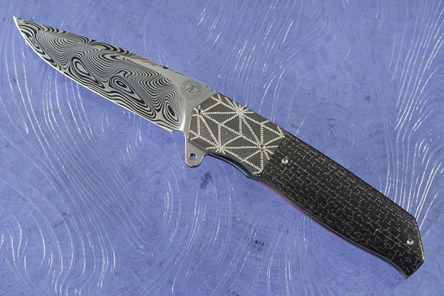 L36S Flipper with Damascus, Silver Strike Carbon Fiber, and Zirconium (Ceramic IKBS)