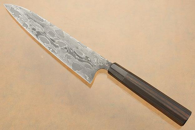 Damascus Chef's Knife (Gyuto) with Macassar Ebony (7