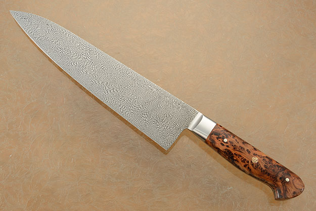 Chef's Knife (Gyuto) with Alpine Fir Burl and Mosaic Damascus (9-3/4 in.)