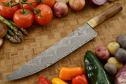 Chef's Knife (11-1/2 in) with Damascus and Ancient Oosic Artifact