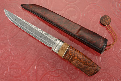 Snakewood Puukko with Oak and Mosaic Damascus