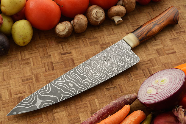 Damascus Chef's Knife with Ironwood (9-3/4 inches)