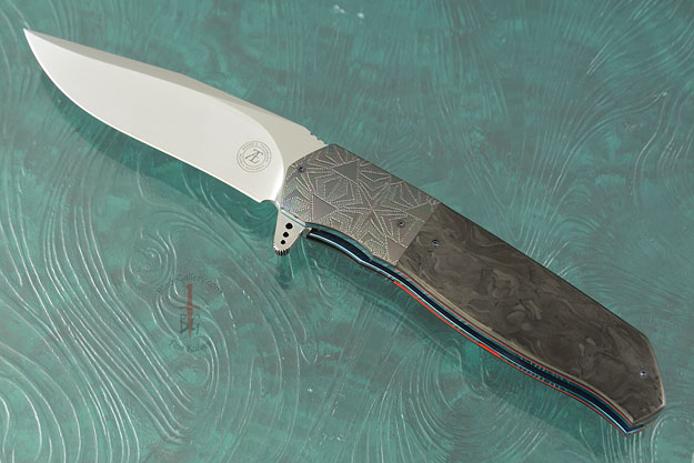 L36M Flipper with Marbled Carbon Fiber and Engraved Zirconium (IKBS)
