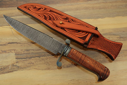 Damascus S-Guard Bowie with Curly Koa