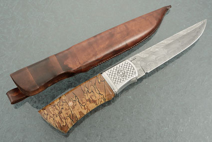 Damascus Hunter with Spalted Oak
