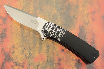 LL15 Flipper with Black G-10 and Damascus (IKBS)