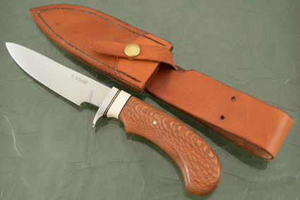 Hunting Knife with Leopardwood and Mammoth Ivory