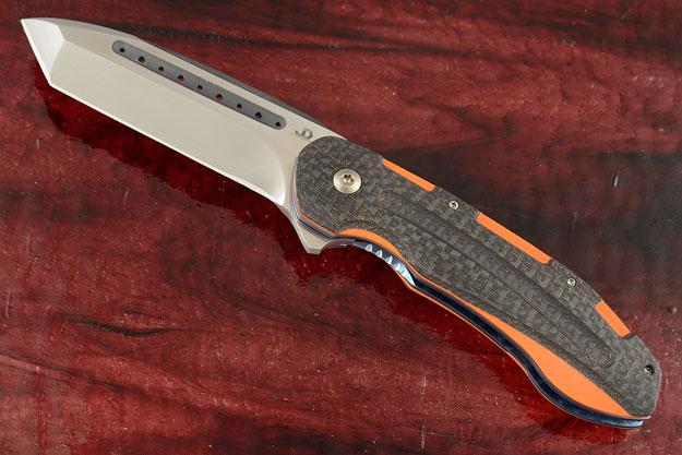 Kenpachi Flipper Tanto with Orange G-10 and Lightning Strike Carbon Fiber (IKBS)