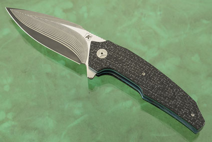 A6 Flipper with Damascus and Silver Strike Carbon Fiber (Ceramic IKBS)
