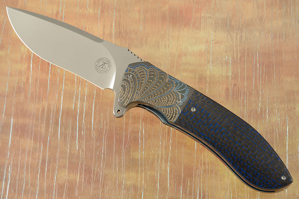 L50 Flipper with Black and Blue Carbon Fiber and Zirconium (IKBS)