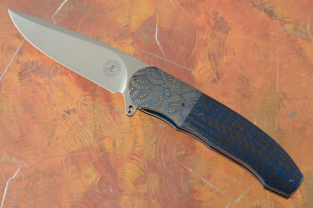 L48 Flipper with Black and Blue Lightning Strike Carbon Fiber and Zirconium (IKBS)