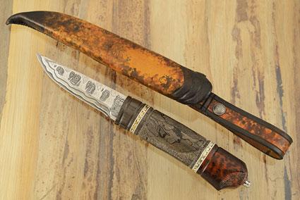 Puukko with Spalted Alder, Oak and Snakewood