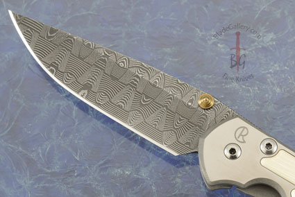 Small Sebenza 21 with Mammoth Ivory and Basketweave Damascus