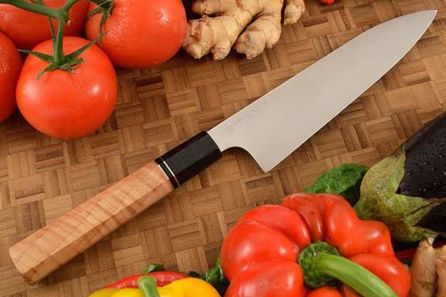 Chef's Knife (Gyuto) -- 8 in.  -- with Curly Maple -- AEB-L Stainless Steel