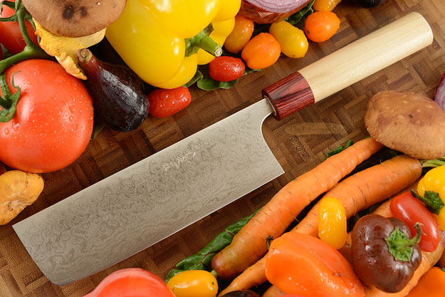 Asai Enji Damascus Chef's Knife - Nakiri - 6 3/4 in. (170mm)
